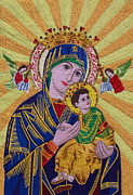 Virgin Mary Tapestries - Textiles Metal Prints - Mother and Child  Metal Print by To-Tam Gerwe
