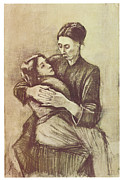 Mother And Child Drawings - Mother and Child by Vincent Van Gogh
