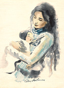 Embracing Painting Posters - Mother and child watercolor painting Poster by Cristina Movileanu