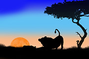 Moonglow Prints - Mother and Cub Print by Peter Stevenson