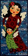 Angel Art Paintings - Mother and Daughter Angels by LuLu Mypinkturtle