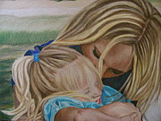Prismacolor Colored Pencil Drawings Prints - Mother and Daughter Print by Kathryn Kerekes