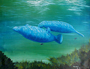 Randall Painting Originals - Mother and Daughter Manatee by Randall Brewer