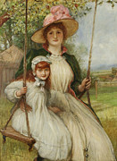 Green Jacket Prints - Mother And Daughter On A Swing Print by Robert Walker Macbeth