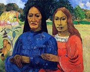 Gauguin Acrylic Prints - Mother and Daughter Acrylic Print by Pg Reproductions