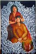 Solace Painting Prints - Mother and Daughter Print by Varsha Lad
