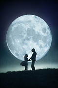 Caring Mother Posters - Mother And Daughter With Full Moon Poster by Lee Avison