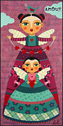 Angel Art Paintings - Mother and Daugther Angels with Hearts by LuLu Mypinkturtle