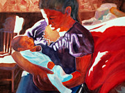 Light And Dark   Painting Prints - Mother and Newborn Child Print by Kathy Braud