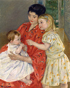 Cassatt Art - Mother And Sara Admiring The Baby by Marry Cassatt