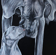 Great Dane Oil Paintings - Mother And Son by Caroline Collinson