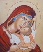 Byzantine Painting Framed Prints - Mother And Son Framed Print by Jovica Kostic