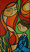 Ilustration Framed Prints - Mother And Son Framed Print by Mary Tere Perez