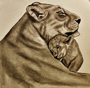 Lion Drawings Originals - Mother and son by Michael Cross