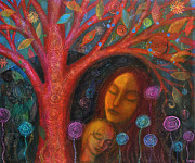 Rumi Paintings - Mother Child Tree by Alice Mason