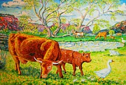 Mother Cow And Bull Calf Print by Annie Gibbons