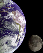 Mother Earth Digital Art - Mother Earth and Her Moon by Nasa Usgs