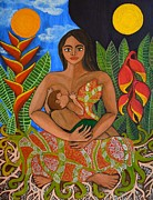 Breastfeeding Paintings - Mother Earth - Nourish  by Jennifer Mourin