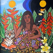 Breastfeeding Paintings - Mother Earth Sustains by Jennifer Mourin