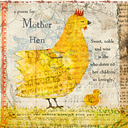 Vegetarian Mixed Media Framed Prints - Mother Hen Framed Print by Sarah Kiser