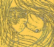 Yellow Drawings - Mother Love 4 by Navo Art