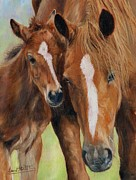 Horses Framed Prints - Mother Love Framed Print by David Stribbling