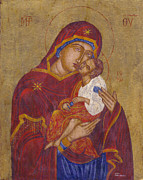 Byzantine Painting Originals - Mother Mary and baby Jesus  by Morgos Silwanis
