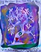 Tree Roots Painting Posters - Mother Nature Tree purple Poster by Tony B Conscious