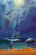 Sun Rays Painting Posters - Mother Natures Kiss Poster by Stephen Kenneth Hackley