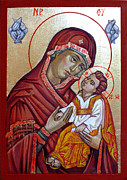 Byzantine Painting Prints - Mother of God Print by Filip Mihail