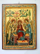 Orthodox Mixed Media Originals - Mother of God in heaven with the Archangels Hand Painted Holy Orthodox Wooden Icon by Denise Clemenco