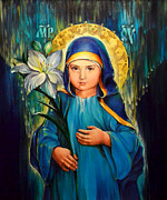 Orthodox Church Painting Acrylic Prints - Mother Of God Three-Years-Old Acrylic Print by Natalia Lvova