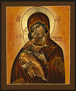 Orthodox Painting Framed Prints - Mother of God  Vladimir Framed Print by Fr Barney Deane