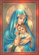 Mother Mary Digital Art Framed Prints - Mother of God Framed Print by Zorina Baldescu