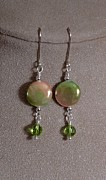 Metal Jewelry Metal Prints - Mother of pearl and Peridot Metal Print by Jan  Brieger-Scranton