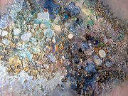 Moonscape Mixed Media Framed Prints - Mother-of-pearl and pink on gold surface Framed Print by Lynda Stevens