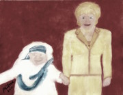 Calcutta Paintings - Mother Teresa and Princess Diana in Heaven 3 by Richard W Linford