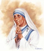 Mother Teresa Paintings - Mother Teresa by Dick Bobnick