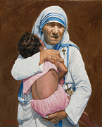 Mother Teresa Framed Prints - Mother Teresa holding a child Framed Print by Dominique Amendola