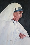 Mother Teresa Framed Prints - Mother Teresa Framed Print by Kyong Burke