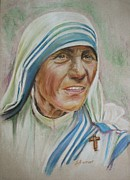 Mother Teresa Framed Prints - Mother Teresa Framed Print by Sheila Diemert