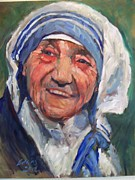Mother Teresa Paintings - Mother Teresas smile by Troy Edkins