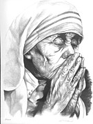 Religious Drawings Metal Prints - Mother Terese of Calcuta Metal Print by Enmanuel