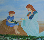 Garden Scene Paintings - Mother - the real mentor by Aman Art