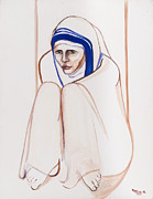 May Ling Yong Prints - Mother Theresa Sitting Print by May Ling Yong