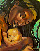 Black Madonna Paintings - Mother by William Hubbard