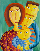 Caring Mother Painting Framed Prints - Mother with 3 sons Framed Print by Julie Nicholls