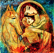 Mother Painting Originals - Mother with Child on horse by Shijun Munns