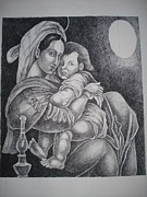 Night Lamp Paintings - Mother with her baby by Prasenjit Dhar