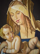 Caring Mother Painting Originals - Mother with her child by Prasenjit Dhar
